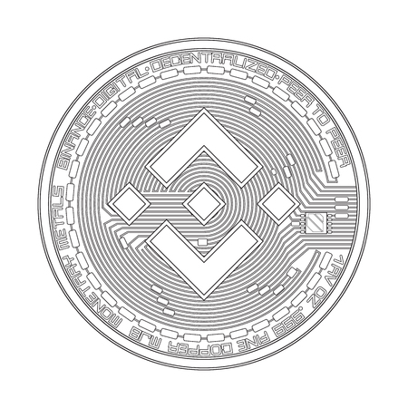 Crypto currency black coin with black binance symbol on obverse isolated on white background. Vector illustration. Use for logos, print products, page and web decor or other design. Illustration