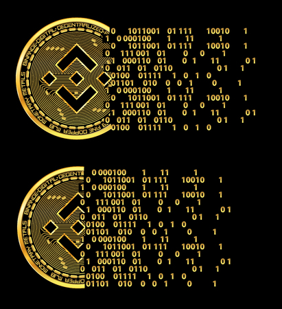 Set of crypto currency flying golden coins with black lackered binance symbol on obverse isolated on black background. Vector illustration. Use for logos, print products, web decor or other design