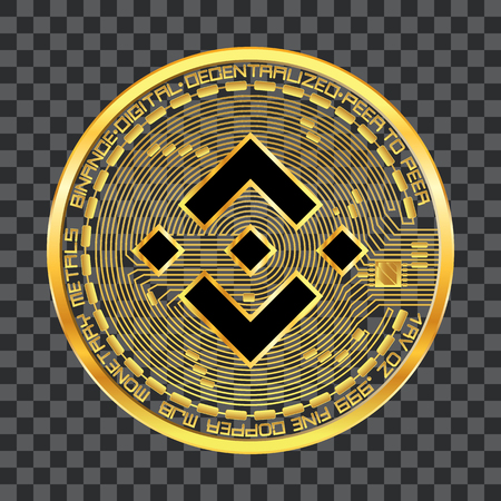 Crypto currency golden coin with black lackered binance symbol on obverse isolated on transparent background. Vector illustration. Use for logos, print products, web decor or other design. Ilustracja