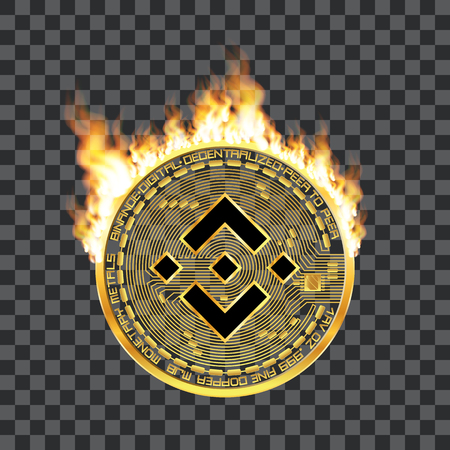 Crypto currency golden coin with black lackered binance symbol on obverse surrounded by realistic flame and isolated on transparent background. Vector illustration. Ilustracja