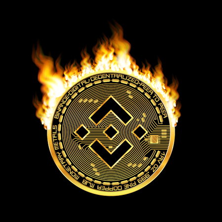 Crypto currency golden coin with black lackered binance symbol on obverse surrounded by realistic flame and isolated on black background. Vector illustration.