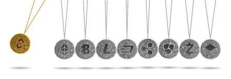 Newton cradle made of gold bitshares and silver crypto currencies isolated on white background. Binance accelerates other crypto currencies. Vector illustration. Use for logos, print products Ilustração
