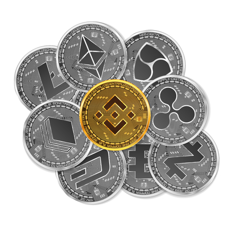 Set of gold and silver crypto currencies with golden binance in front of other crypto currencies as leader isolated on white background. Vector illustration. Use for logos, print products