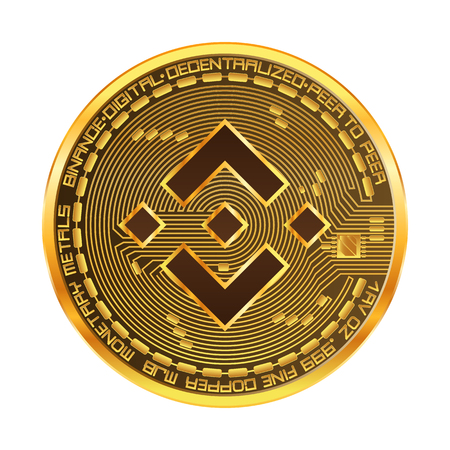 Crypto currency golden coin with binance symbol on obverse isolated on black background. Vector illustration. Use for logos, print products, page and web decor or other design.  イラスト・ベクター素材
