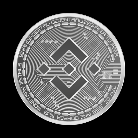 Crypto currency silver coin with silver binance symbol on obverse isolated on black background. Vector illustration. Use for logos, print products, page and web decor or other design.