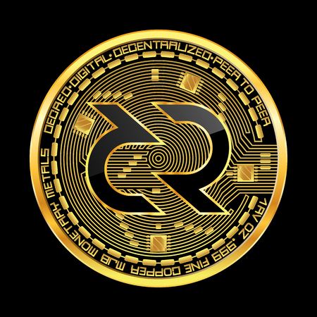 Crypto currency golden coin with black lackered decred symbol on obverse isolated on black background. Vector illustration. Use for logos, print products, page and web decor or other design. Illustration