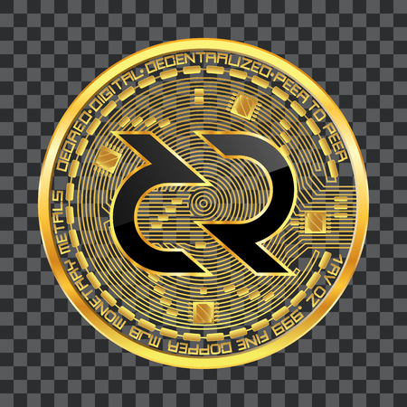 Crypto currency golden coin with black lackered decred symbol on obverse isolated on transparent background. Vector illustration. Use for logos, print products, web decor or other design.