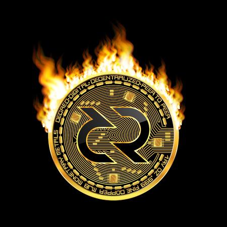 Goldene Kryptowährungsmünze mit schwarz lackiertem dekreiertem Symbol auf der Vorderseite, umgeben von realistischer Flamme und isoliert auf schwarzem Hintergrund. Vektor-Illustration. Vektorgrafik