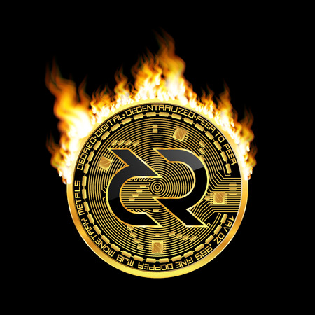 Crypto currency golden coin with black lackered decred symbol on obverse surrounded by realistic flame and isolated on black background. Vector illustration.