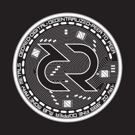 Crypto currency black coin with black decred symbol on obverse isolated on white background. Vector illustration. Use for logos, print products, page and web decor or other design. Illustration