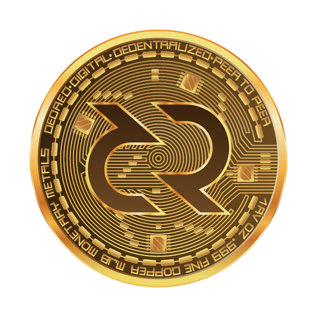 Crypto currency golden coin with decred symbol on obverse isolated on black background. Vector illustration. Use for logos, print products, page and web decor or other design.