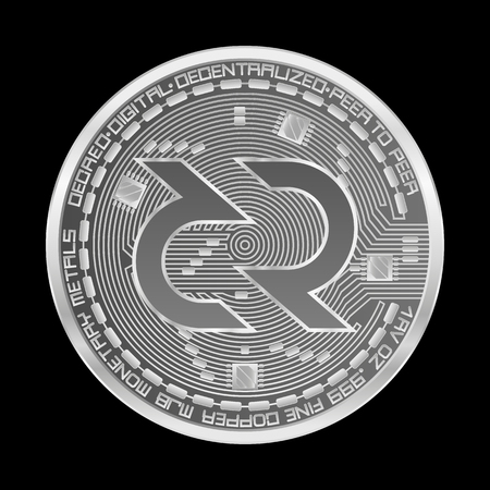Crypto currency silver coin with silver decred symbol on obverse isolated on black background. Vector illustration. Use for logos, print products, page and web decor or other design.