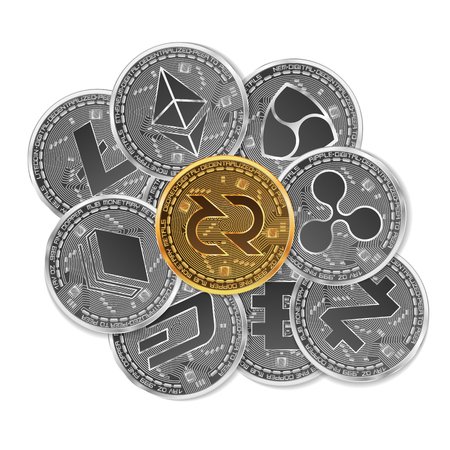 Set of gold and silver crypto currencies with golden decred in front of other crypto currencies as leader isolated on white background. Vector illustration. Use for logos, print products