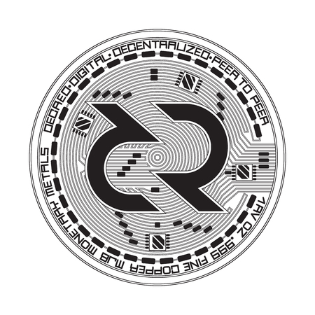 Crypto currency black coin with black decred symbol on obverse isolated on white background. Vector illustration. Use for logos, print products, page and web decor or other design. 向量圖像