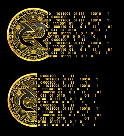 Set of crypto currency flying golden coins with black lackered decred symbol on obverse isolated on black background. Vector illustration. Use for logos, print products, web decor or other design