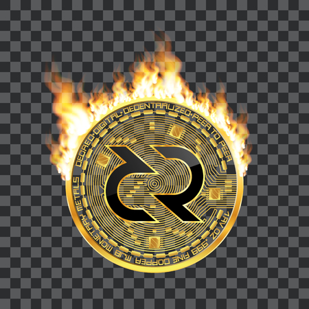 Crypto currency golden coin with black lackered decred symbol on obverse surrounded by realistic flame and isolated on transparent background. Vector illustration. Illustration