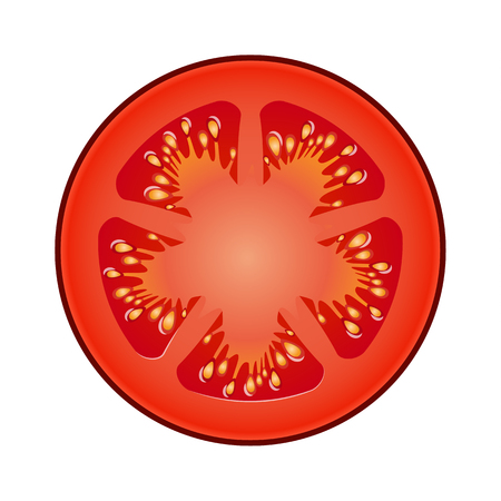 Fresh red tomato slice with shadows and highlights isolated on white background top view.