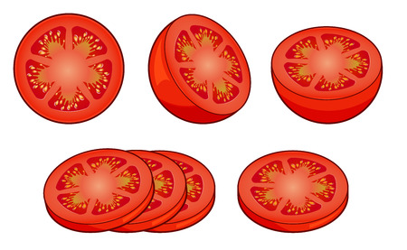 Set of fresh red tomato slices with shadows and highlights isolated on white background top view.
