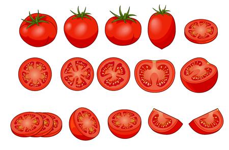 Set di pomodori rossi freschi con ombre e riflessi isolati su sfondo bianco vista dall'alto. Intero, fetta, metà, quarto.