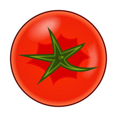 Fresh red tomato with green stem with shadows and highlights isolated on white background top view.