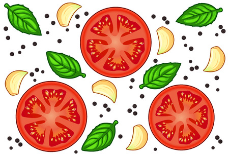 Fresh red tomato slices with garlic, green basil and black pepper with shadows and highlights isolated on white background isometric front view.