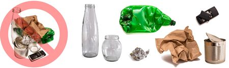 Sorting and separating of garbage types: glass, plastic, paper, metal, phone battery isolated on white. Banner. Recycling concept, waste management, ecology and saving the environment