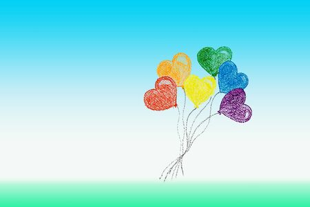 Bunch of flying heart shaped balloons in colors of LGBTQ flag. Rainbow colors as symbol of LGBT Pride. LGBT Pride Month concept. Wax crayon hand drawing. Copy space