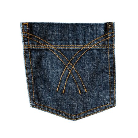 Dark blue jeans back pocket isolated on white background. Closeup of stitch, seams, rivet and fabric texture. Denim fashion, pocket design Standard-Bild