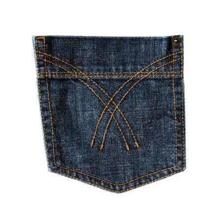 Dark blue jeans back pocket isolated on white background. Closeup of stitch, seams, rivet and fabric texture. Denim fashion, pocket design Banco de Imagens