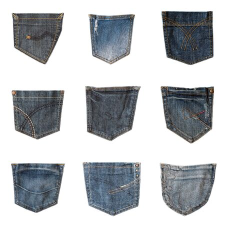 Collection of different jeans back pockets isolated on white background. Set of nine samples of denim pockets