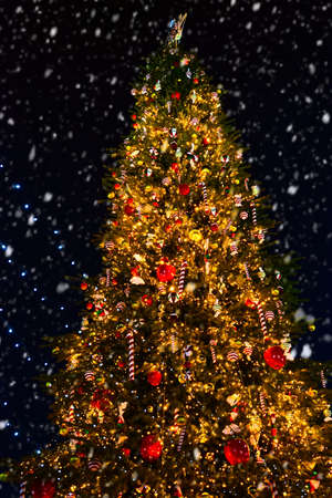 Ornate Christmas tree at night outdoors. National christmas tree
