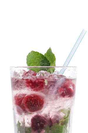 Cocktail with mine and strawberry isolated on a white background photo