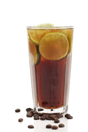 coffee crop: Refreshment Highball Drink made of Rum, Vodka, Gin, Tequila, Cola, Lemon and Coffee Crop. Isolated on White Background. Stock Photo