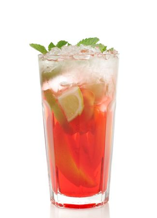 grenadine: Refreshment Soft Drink made of Black Tea, Orange, Grenadine Syrup, Lime and Mint. Isolated on White Background.