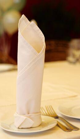 servilleta de papel: Servilleta en el cuadro de banquetes. Centrarse en la servilleta. Foto de archivo