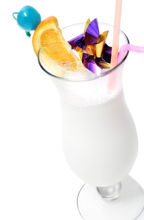 Alcohol Drink with Rum. Serve with Orange Slice and Blue Cherry. Isolated over White photo