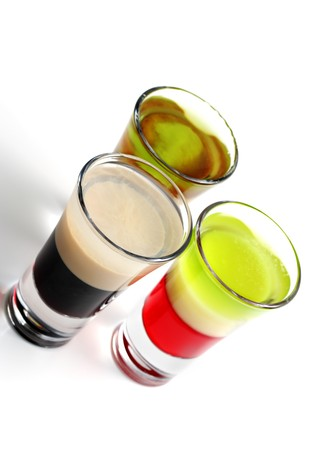 коньяк: Layered Alcoholic Cocktails Isolated on White Background