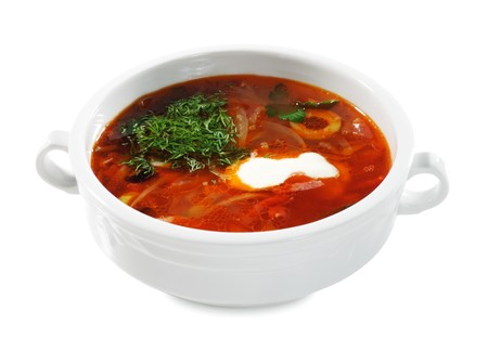 solyanka: Russian and Ukrainian Cuisine - Solyanka is a Thick, Spicy and Sour Soup. Isolated on White Background