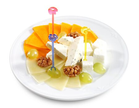 circassian: Cheese Assorted Plate Served with Circassian Walnut Stock Photo