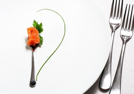 prepared food: Food Still Life Flatware, Fish and Green. Abstract Flower