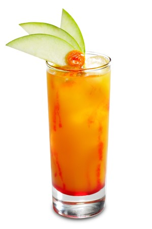 grenadine: Alcoholic Cocktail made of Liqueur, Rum, Pineapple Juice and Grenadine Syrup Served with Apple Slice.
