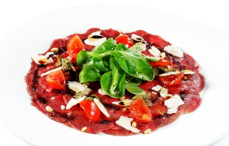 carpaccio: Beef Carpaccio with Greens and Tomato