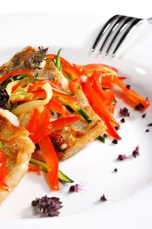 julienne: Grilled Fish with Julienne Vegetable. Isolated on White Background