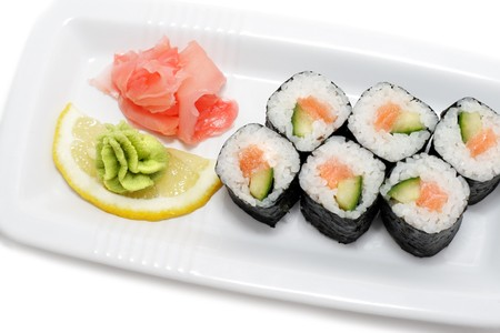 sushi plate: Salmon and Cucumber Sushi Plate Isolated on White Background Stock Photo