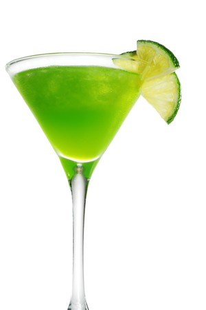 Alcoholic Cocktail made of Liqueur Lychee, Tequila and Lime Juice. Isolated on White Background photo
