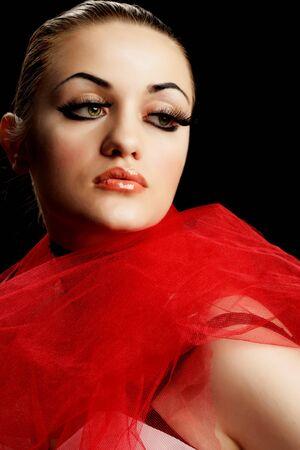 Beauty Young Woman with False Eyelashes photo