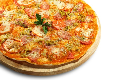 Meat Pizza with Tomato and Parsley. Isolated on White Background photo