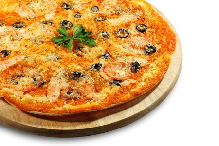Seafood Pizza with Olives and Parsley. Isolated on White Background Stock Photo - 4085972