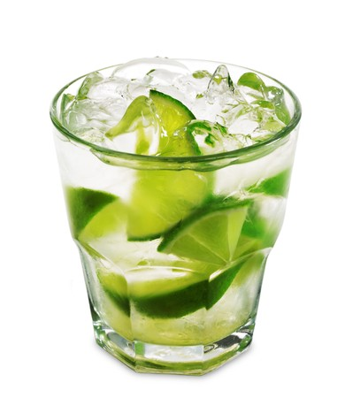 Caipirinha - National Cocktail of Brazil Made with Cachaca, Sugar and Lime. Isolated on White Background photo