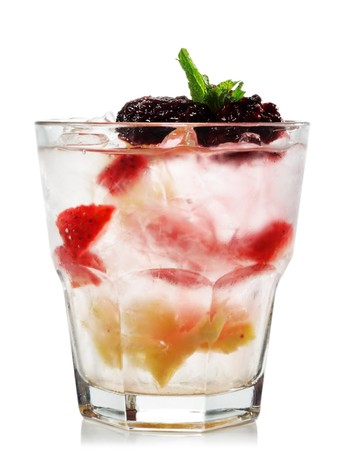 Alcoholic Cocktail made of Vermouth, Blackberry and Pineapple. Isolated on White Background photo